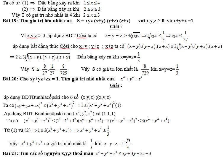 Bất đẳng thức, tìm giá trị min-max của biểu thức-11