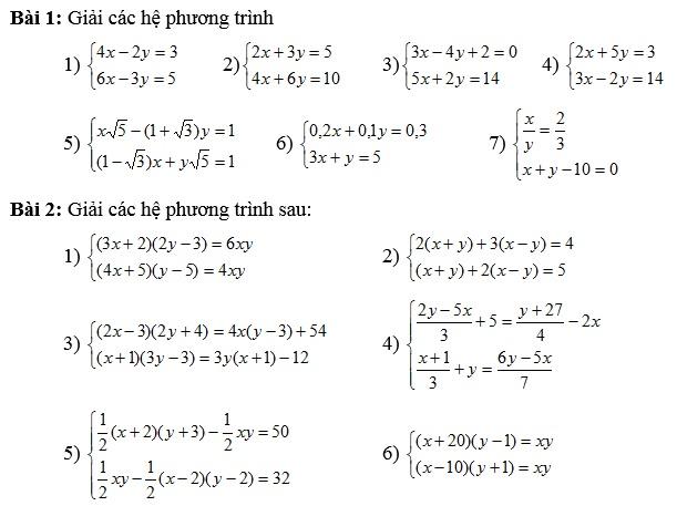 Chuyên đề hệ phương trình bậc nhất hai ẩn số-2