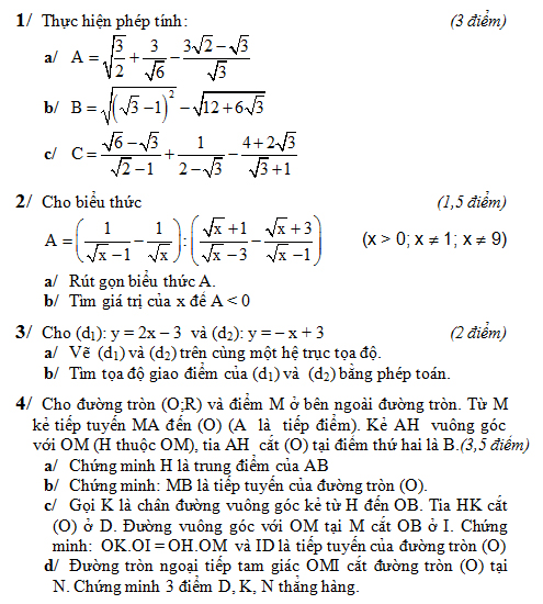 Đề kiểm tra toán lớp 9 học kỳ 1 năm 2014 – 2015-1
