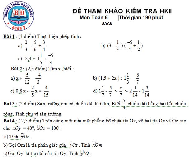 Đề tham khảo kiểm tra Toán 6 HK2 THCS Bạch Đằng quận 3-1