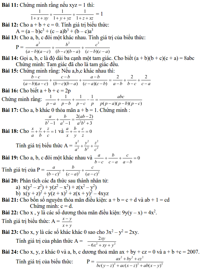 24 bài tập về phép biến đổi đồng nhất-1