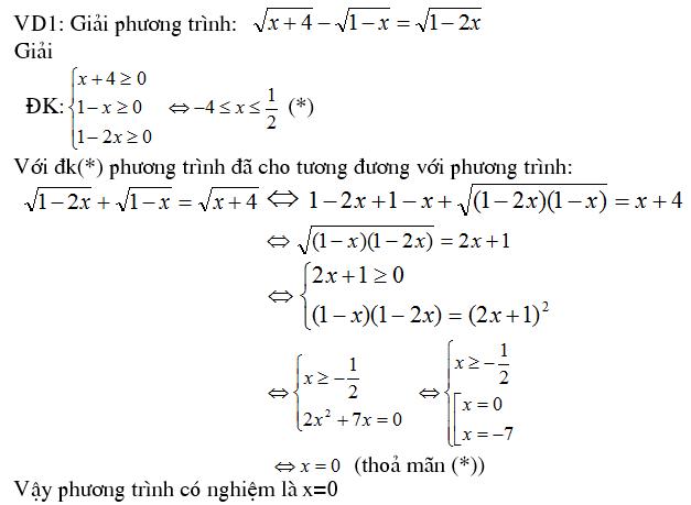 4 phương pháp giải phương trình vô tỷ - Toán cấp 2-1