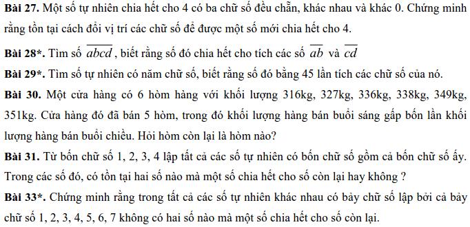 Bài tập về các dấu hiệu chia hết - Số học 6-2