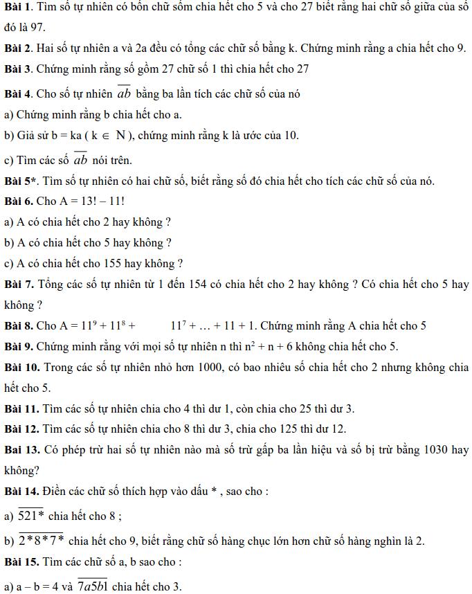 Bài tập về các dấu hiệu chia hết - Số học 6