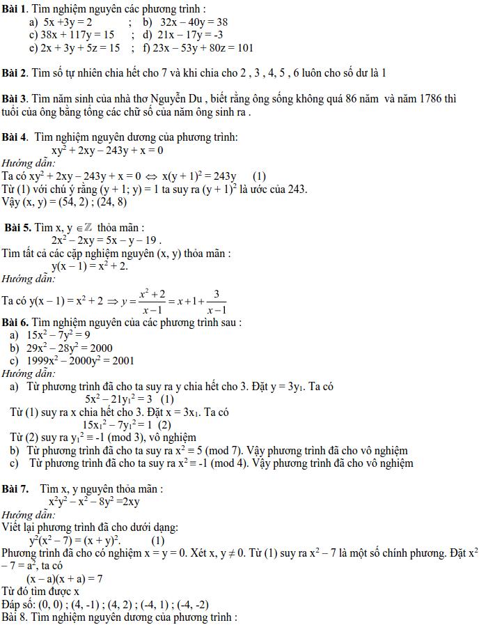 Các dạng phương trình nghiệm nguyên và cách giải-6