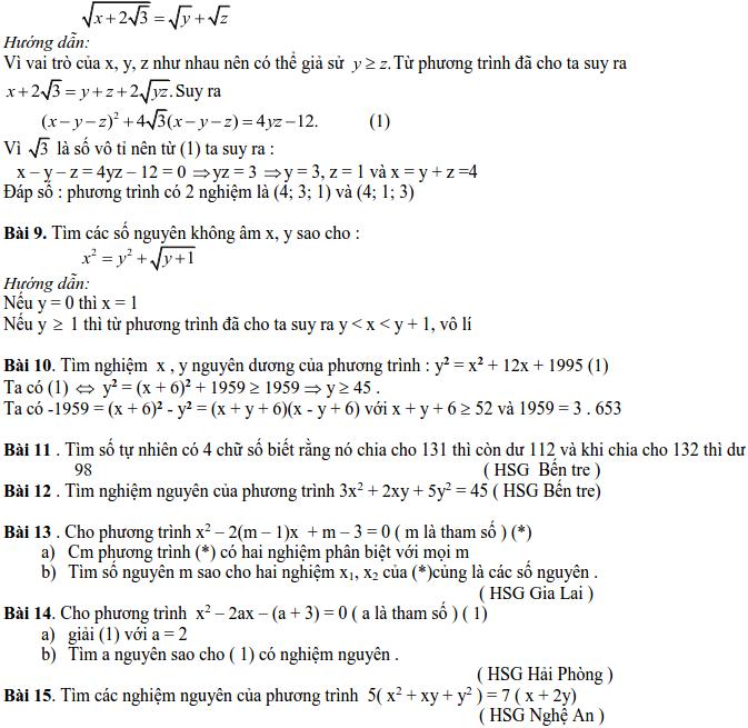 Các dạng phương trình nghiệm nguyên và cách giải-7