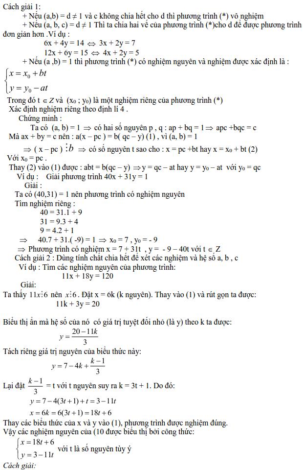 Các dạng phương trình nghiệm nguyên và cách giải