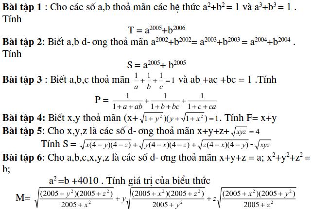 Dạng bài tập tính giá trị biểu thức - Đại số 9-1
