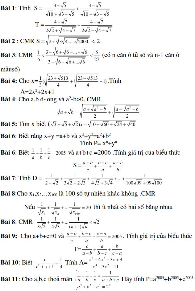 Dạng bài tập tính giá trị biểu thức - Đại số 9-2