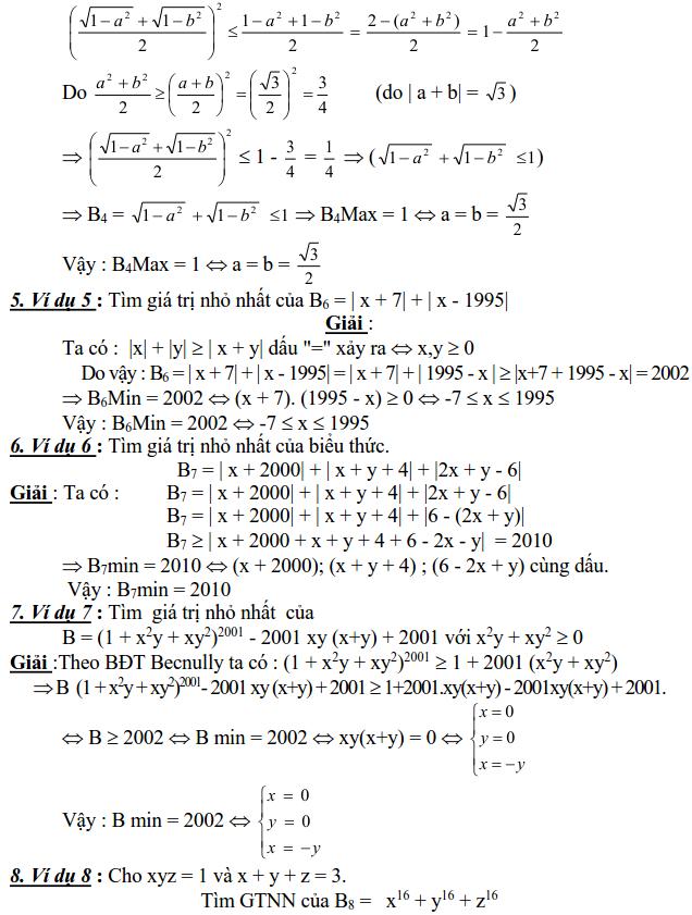 Sử dụng các bất đẳng thức cơ bản để tìm GTLN, GTNN-1