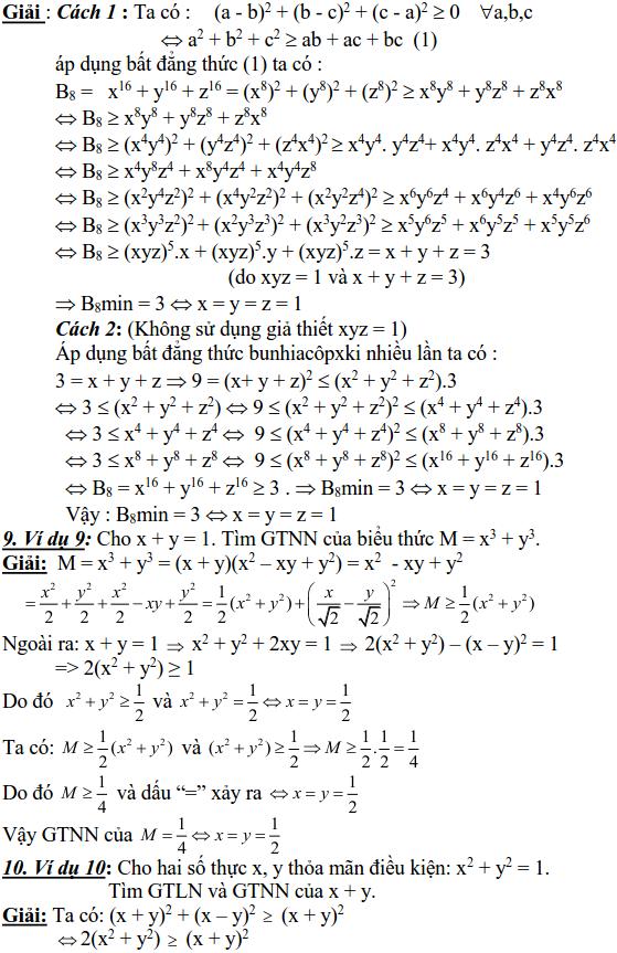 Sử dụng các bất đẳng thức cơ bản để tìm GTLN, GTNN-2