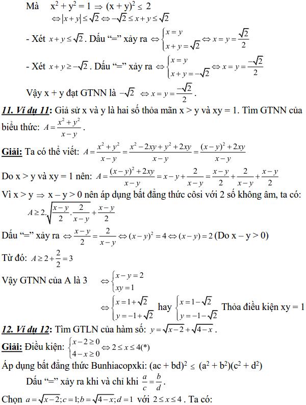 Sử dụng các bất đẳng thức cơ bản để tìm GTLN, GTNN-3