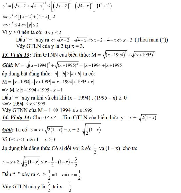 Sử dụng các bất đẳng thức cơ bản để tìm GTLN, GTNN-4
