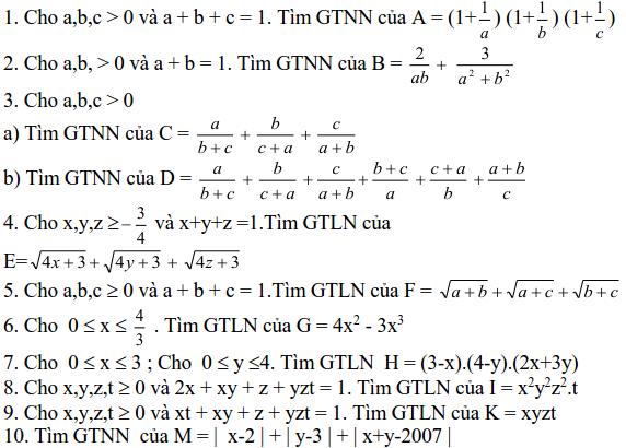 Sử dụng các bất đẳng thức cơ bản để tìm GTLN, GTNN-5
