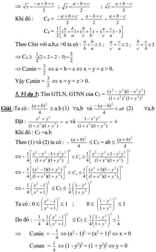 Sử dụng phương pháp đặt biến phụ để tìm GTLN, GTNN-1