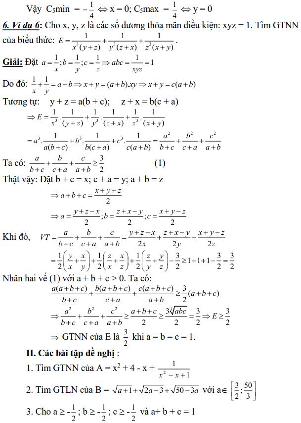Sử dụng phương pháp đặt biến phụ để tìm GTLN, GTNN-2