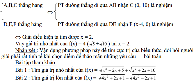 Sử dụng phương pháp hình học để tìm GTLN, GTNN-1