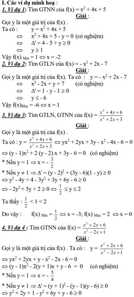 Sử dụng phương pháp miền giá trị để tìm GTLN, GTNN