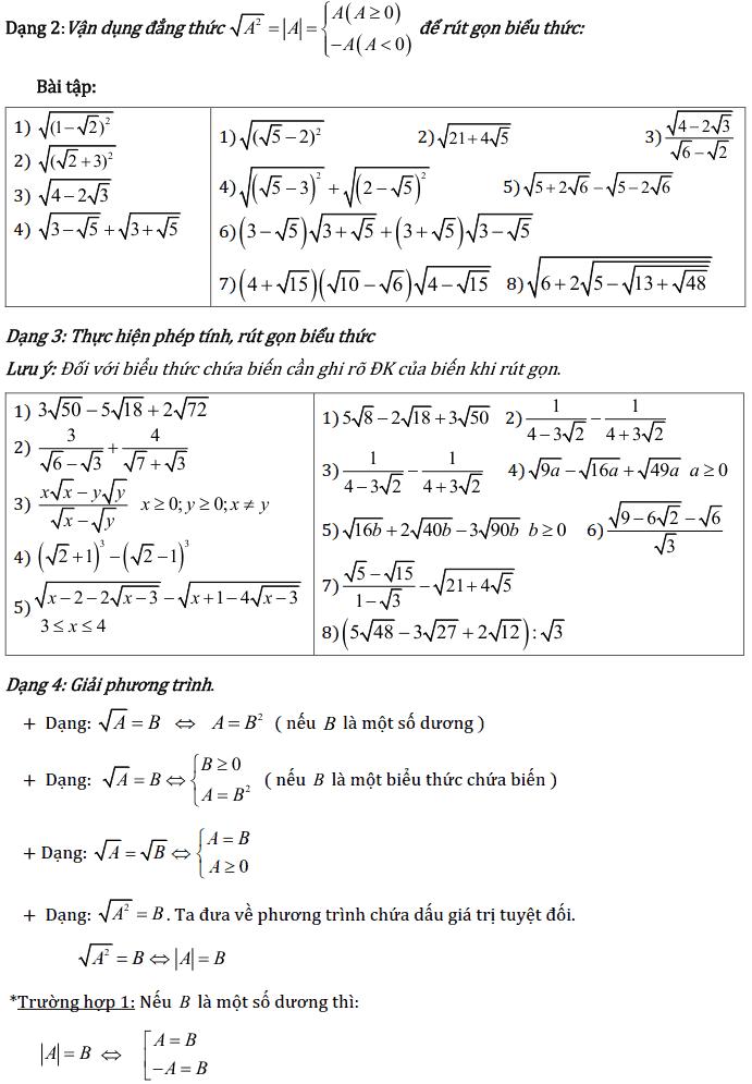 Chủ đề 1: Căn bậc 2 - Căn bậc 3 - Phần Đại số-2