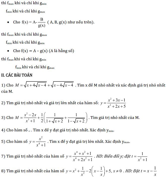 Chủ đề 2: Giá trị lớn nhất, nhỏ nhất của hàm số - Phần Đại số-2