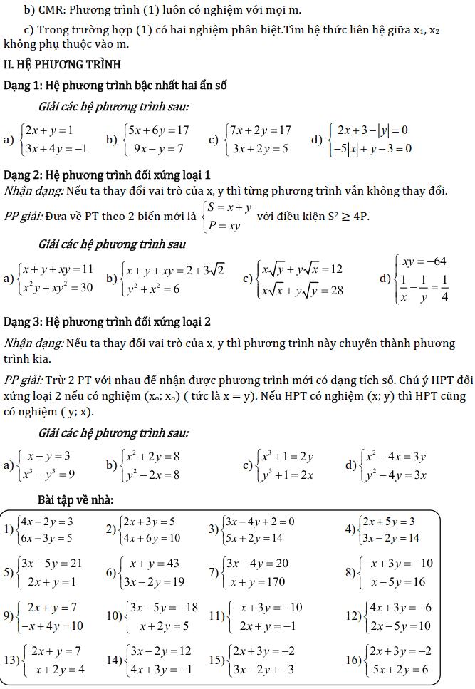 Chủ đề 3: Phương trình và Hệ phương trình - Phần Đại số-10