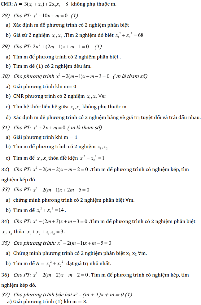 Chủ đề 3: Phương trình và Hệ phương trình - Phần Đại số-9