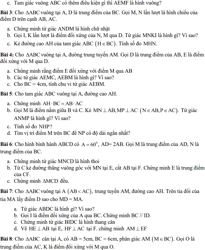 Đề cương ôn tập HK1 Toán 8 THCS Quỳnh Mai - Hà Nội-2