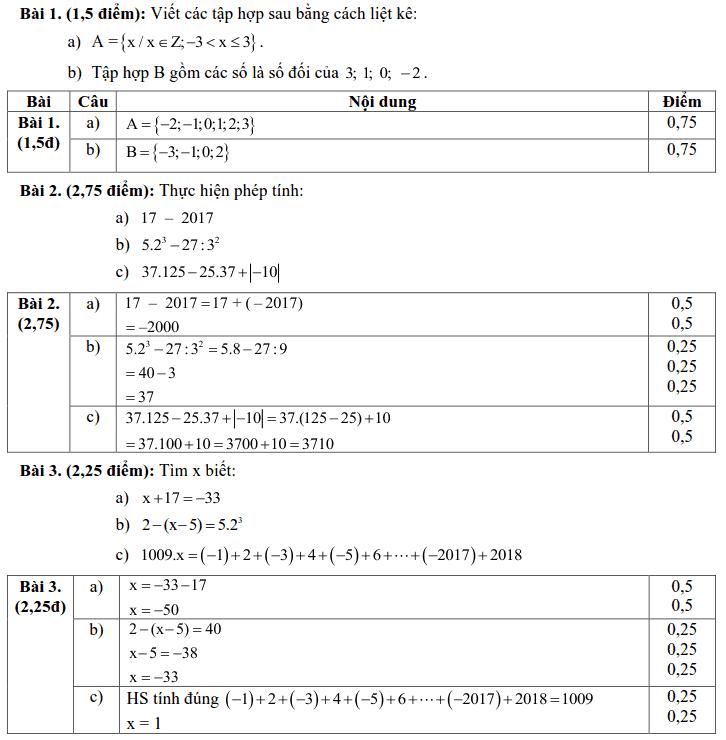 Đề kiểm tra Toán 6 HK1 huyện Xuyên Mộc năm 2017 – 2018-1