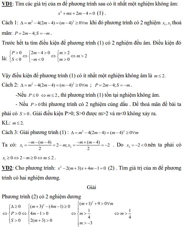 Điều kiện về nghiệm của phương trình bậc hai-1