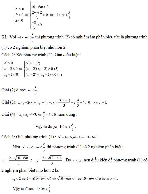Điều kiện về nghiệm của phương trình bậc hai-3
