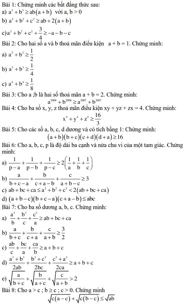 Một số bài tập bất đẳng thức-1