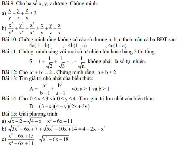 Một số bài tập bất đẳng thức-2