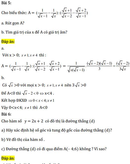Một số bài tập điển hình ôn thi học kì Toán 9 có đáp án-3