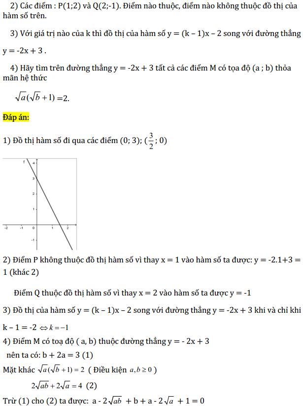 Một số bài tập điển hình ôn thi học kì Toán 9 có đáp án-7