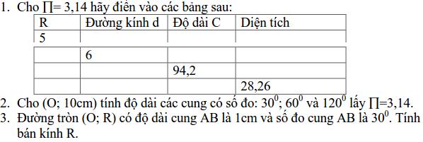 Ôn tập: Độ dài đường tròn - diện tích hình tròn-1