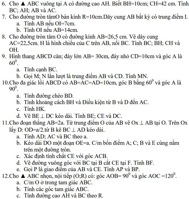 Ôn tập Hệ thức lượng trong tam giác vuông - Hình học 9-1