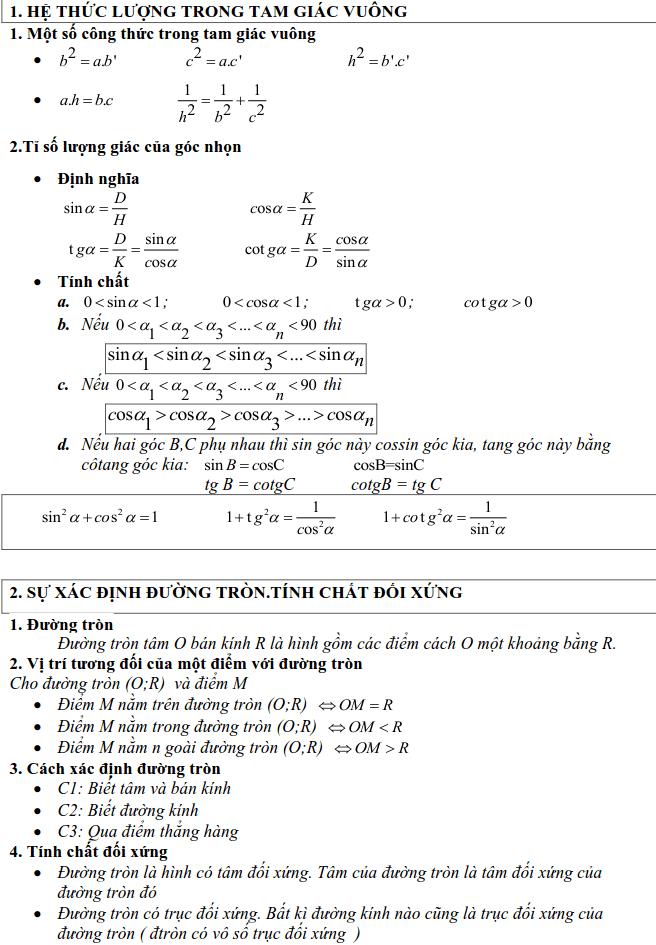 Tổng hợp lý thuyết Hình học lớp 9-1