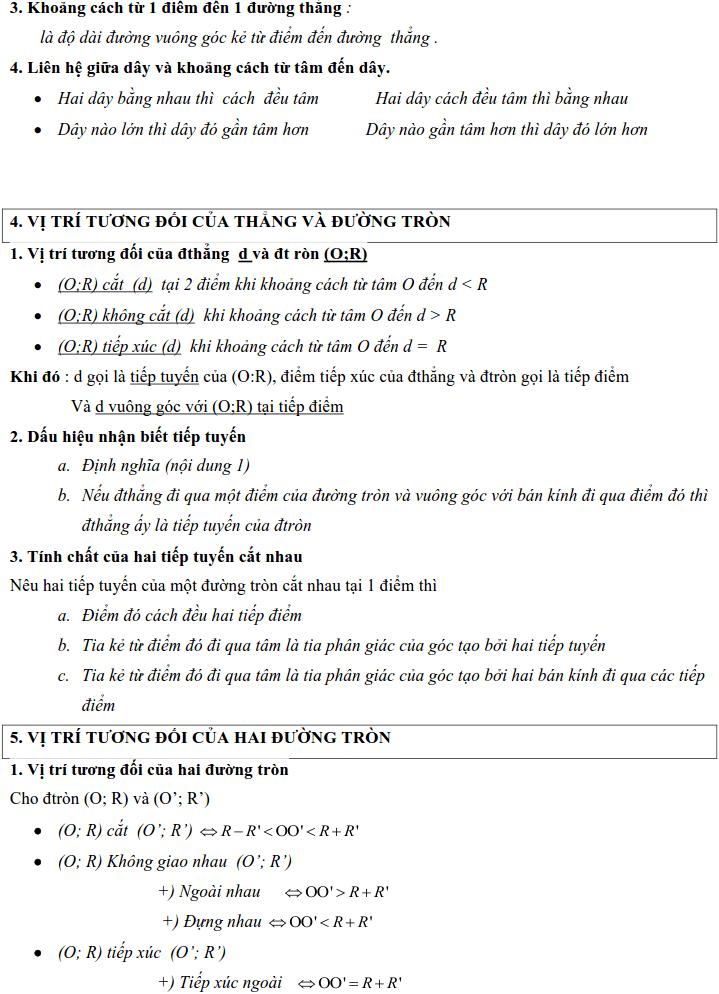 Tổng hợp lý thuyết Hình học lớp 9-3