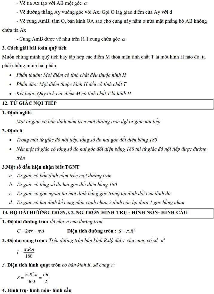 Tổng hợp lý thuyết Hình học lớp 9-6