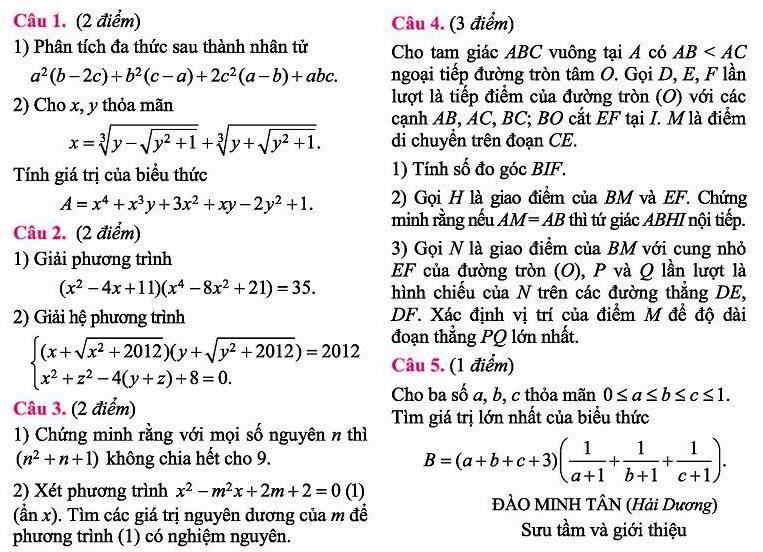 Đề thi tuyển sinh vào 10 môn Toán THPT chuyên Nguyễn Trãi Hải Dương 2012-2013-1