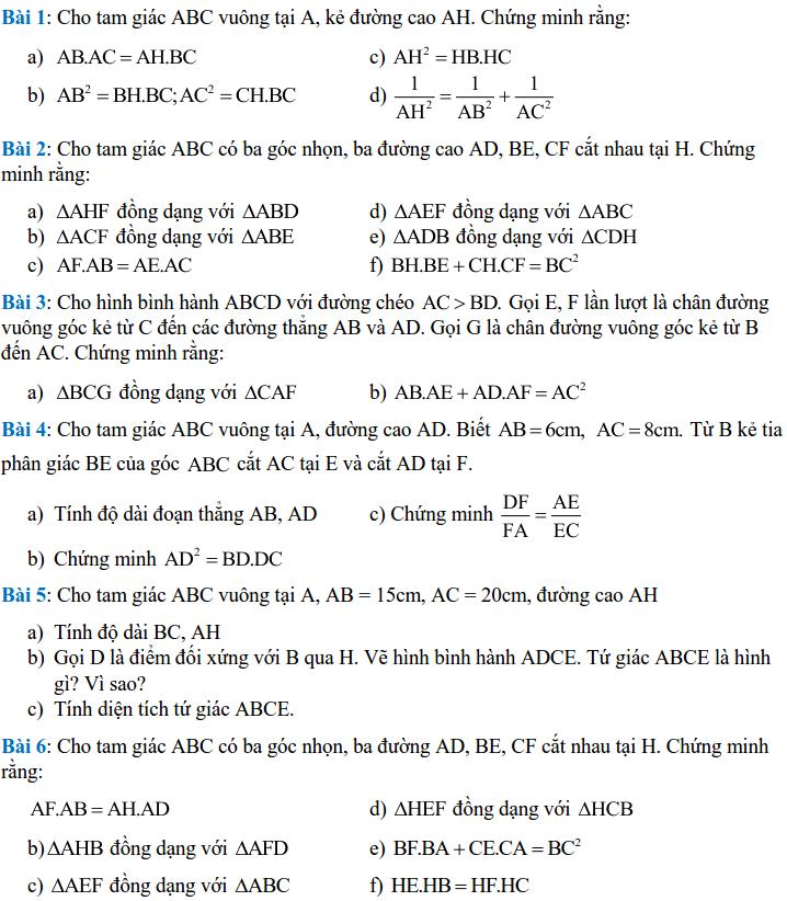 Một số bài tập về các trường hợp đồng dạng của tam giác - Hình học 8-1