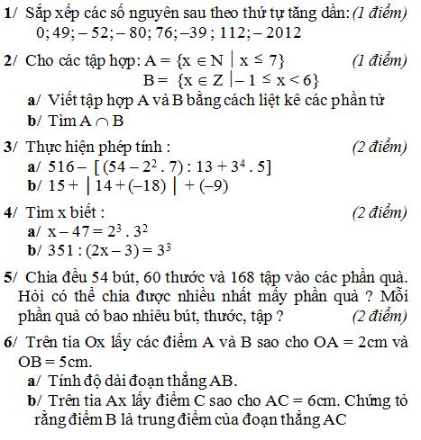 Đề kiểm tra môn Toán lớp 6 học kì 1 có đáp án
