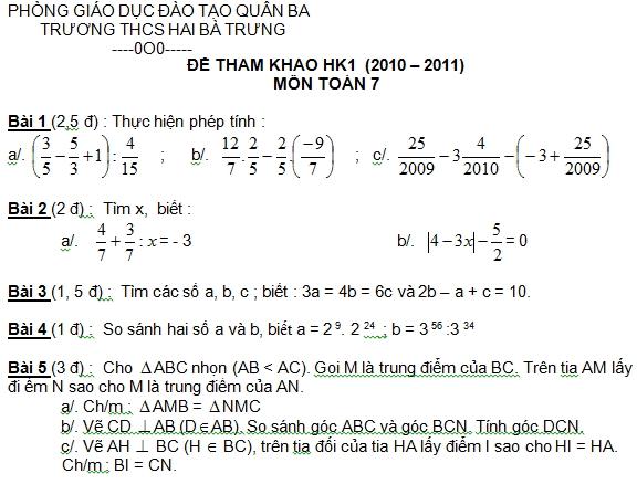 Đề kiểm tra Toán 7 học kì 1 THCS Hai Bà Trưng quận 3