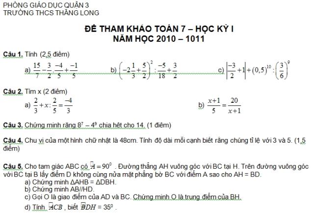Đề kiểm tra Toán 7 học kì 1 THCS Thăng Long quận 3