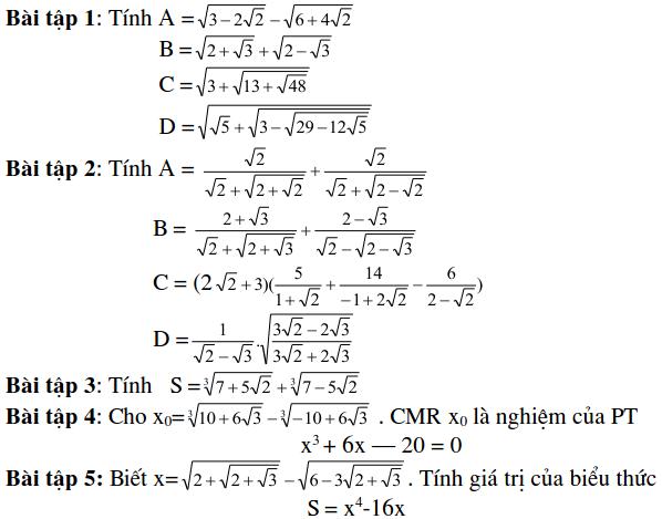 Dạng bài tập tính giá trị biểu thức - Đại số 9