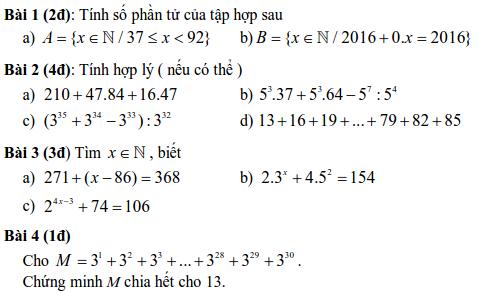 Đề kiểm tra Đại số 6 chương 1 THCS Nguyễn Du quận 1