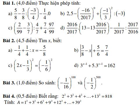Đề kiểm tra Đại số 7 chương 1 THCS Nguyễn Du quận 1