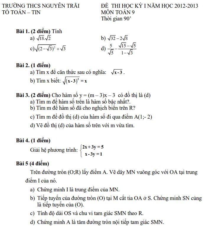 Đề kiểm tra học kỳ 1 môn Toán lớp 9 THCS Nguyễn Trãi 2012-2013