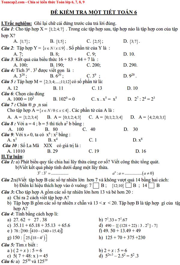 Đề kiểm tra một tiết Toán 6 trắc nghiệm và tự luận Số học