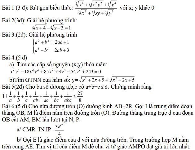 Đề thi HSG môn Toán lớp 9 tỉnh Đắk Nông năm học 2012-2013